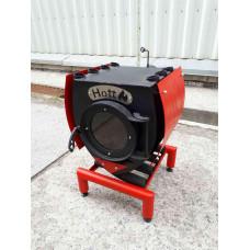 Печь Hott (хотт) с варочной поверхностью с большим стеклом, кожухом и подставкой «04» -35 кВт-1000 м3